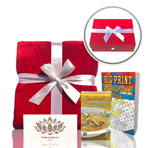 Get Well Gifts Box - Includes Luxury Blanket Wellness Tea Chicken Soup and Word Find Book  Get Well Soon Gifts for Women   Get Well Gifts for Men Presented in Beautiful Gift Box with Ribbon