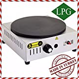PROFESSIONAL Non-Stick TEFLON COATED SMOOTH COOKER 16 '' 40 cm SINGLE ROUND Plate Commercial industrial Grade PROPANE GAS Snack Pancake CREPE Griddle Maker Machine PROPAN (LPG)