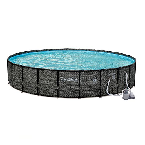 Summer Waves 24ft x 52in Elite Wicker Above Ground Frame Pool Set with Sand Filter Pump, Pool Cover, Ladder, Ground Cloth, and Deluxe Maintenance Kit