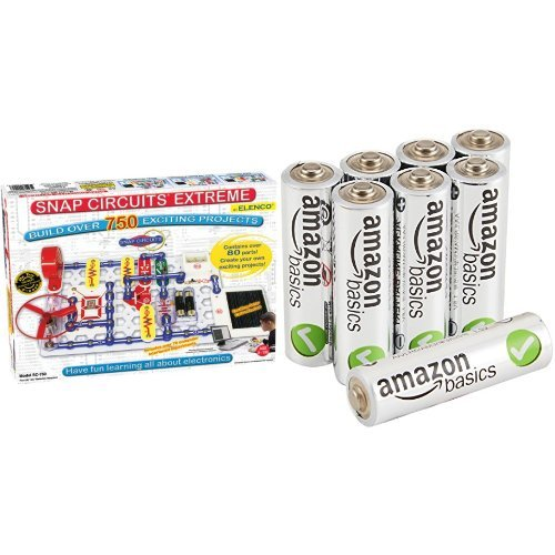 (Snap Circuits Extreme SC-750 Electronics Discovery Kit in Frustration-Free Packaging with AmazonBasics AA Batteries Bundle)