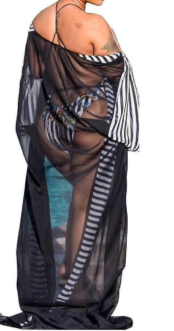 BU2H Women Deep V Swimwear Cover Up Printing Mesh Bikini Beach Swimsuit