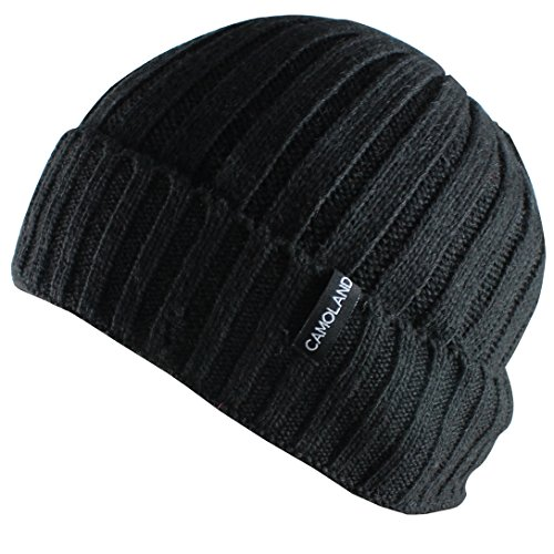 (CAMOLAND Men's Fleece Wool Cable Knit Winter Beanie Hat(Black) )