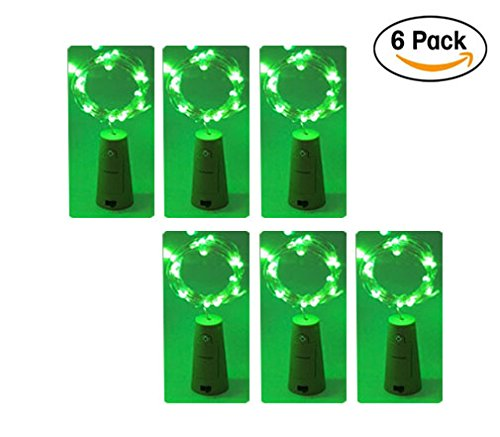 6-Pack 20LED Wine Bottle String Light, GuanYuanGuang 2M/6.6Ft Flexible Copper Wire Fairy Starry Decor Lights for Bedroom, DIY, Parties, Valentines Day, Built-in 3pc Button Cell (Green)