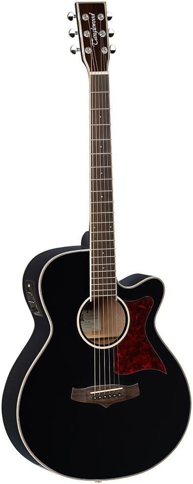 Tanglewood Super Folk TW4BK–Guitarra electroacústica, tapa de cedro macizo), con ecualizador