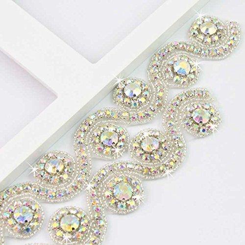 - Crystal Rhinestone Trim Gleaming Ribbon Applique Bridal Beaded Applique ,1 Yard