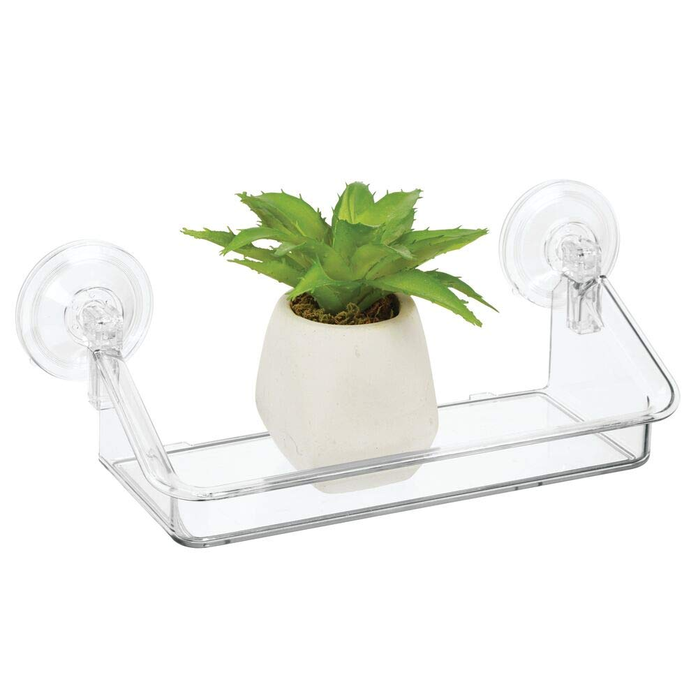 Pr/áctica estanter/ía flotante Organizador de pared de pl/ástico resistente mDesign Estante de pared peque/ño ideal para colgarla en ventanas o espejos transparente