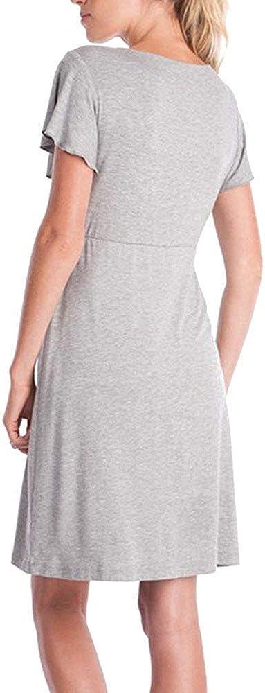 Mama da Donna Summer Dress di maternit/à Pizzo Costume Orlo in Allattamento al Seno Abiti A Maniche maternit/à maternit/à Tinta Unita Gravidanza Sleep Dress Fashion Tempo Libero