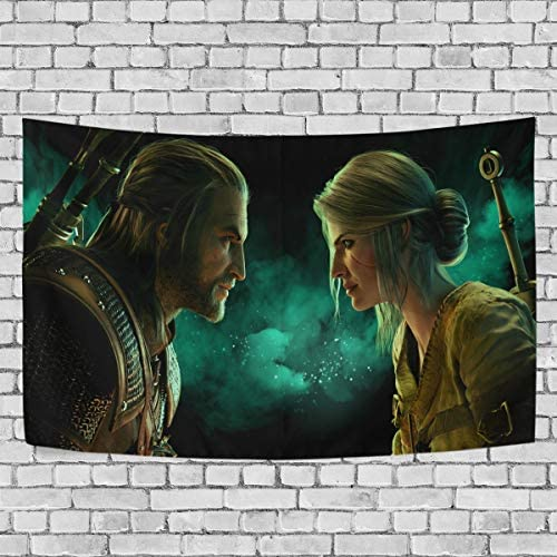 TRE ONE Game Man Woman The Witcher Tapestry Wall Hanging Decoration for Apartment Home Art Wall Tapestry for Bedroom Living Room Dorm Fashion 90 x 60 inches