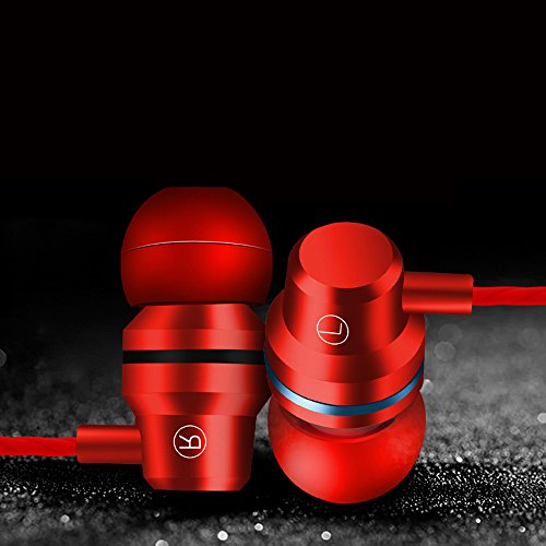 KaiCran New Metal Stereo Headphone Bass Earphone Sport Headset Hands Free Earbuds With Mic (Red) by KaiCran (Image #2)