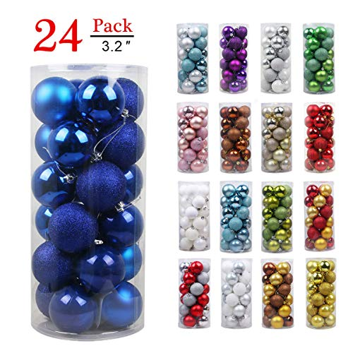 Christmas Balls Ornaments for Xmas Tree - Shatterproof Christmas Tree Decorations Large Hanging Ball Blue 3.2