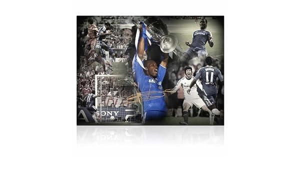 Exclusive Memorabilia - Fotografía firmada de Didier Drogba (jugador de fútbol del Chelsea FC): Amazon.es: Deportes y aire libre