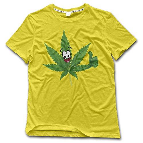Casual Funny Emojj Cannabis Leaf Crew-Neck Short Sleeve T-shirts Yellow Medium