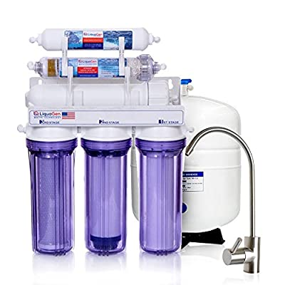 6 Stage - Under Sink Reverse Osmosis Drinking Water Filter System w/ pH Alkaline/KDF/ORP Negative Filter + 1 YEAR FREE REPLACEMENT SET | 100 GPD