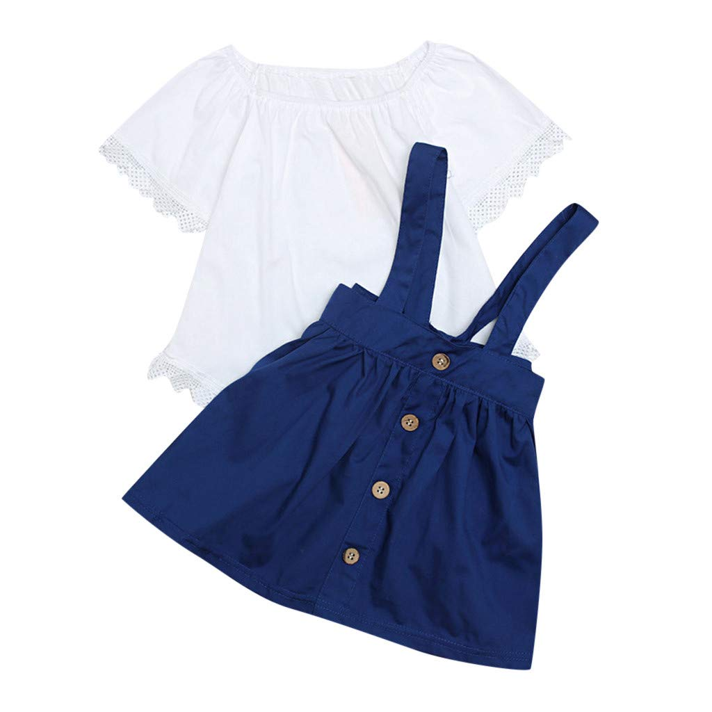 Jchen 2Pcs Baby Kids Little Girls Short Sleeve Solid Color Lace Tops Denim Strap Skirts Summer Casual Outfits for 0-4 Yrs (Age:18-24 Months, Blue)