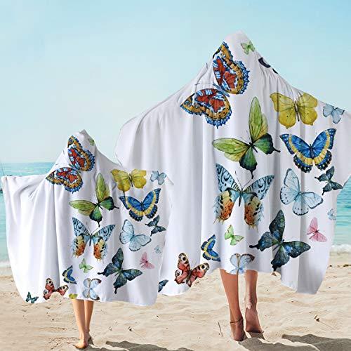 Sleepwish Hooded Towel with Butterflies Womens Surf Poncho Towel Adult Size Hippie Bath Wrap Blanket (60 x 80 inch)