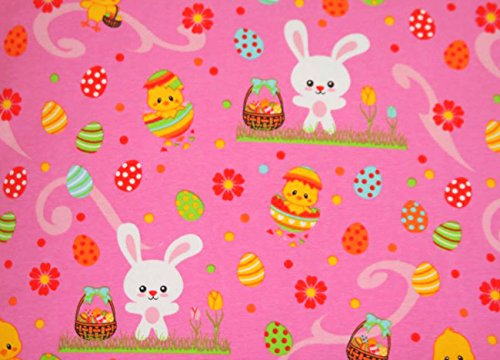Knit Hippity Hoppity Easter Design Fabric By the Yard, 95% Cotton, 5% Lycra Super-stretchy (4 Way Stretch), 60 Inches Wide (4 yards)