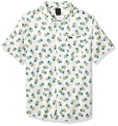 (RVCA Men's ANP Pack Short Sleeve Woven Button Front Shirt, Antique/White, XL)