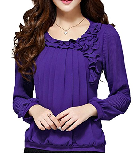 C2U Women Pullover Elegant Wave Flouncing Long Sleeve Chiffon (Purple Chiffon)