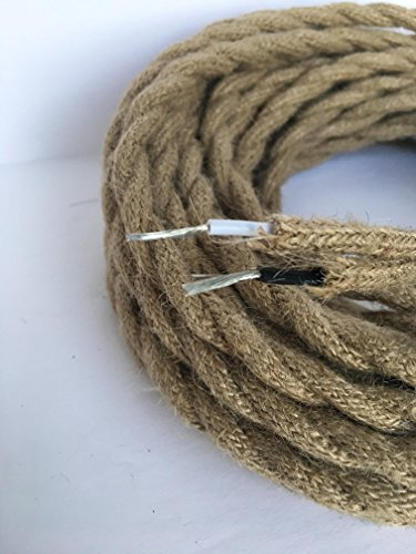 Vintage Rope - 35feet HEMP ROPE Twisted 18/2 Cloth Natural Fabric Electrical Cord, Great for Vintage, Industrial, and Antique Lamps & Fans DIY (twisted)