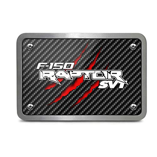 Ford F-150 Raptor SVT Claw Marks UV Graphic Black Carbon Fiber Texture Plate Billet Aluminum 2 inch Tow Hitch Cover, Made in USA