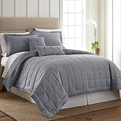 Image of Home and Kitchen King Bedding Set - 3 Piece - Linen True Blue by Donna Sharp - Contemporary Quilt Set with King Quilt and Two King Pillow Shams - Machine Washable