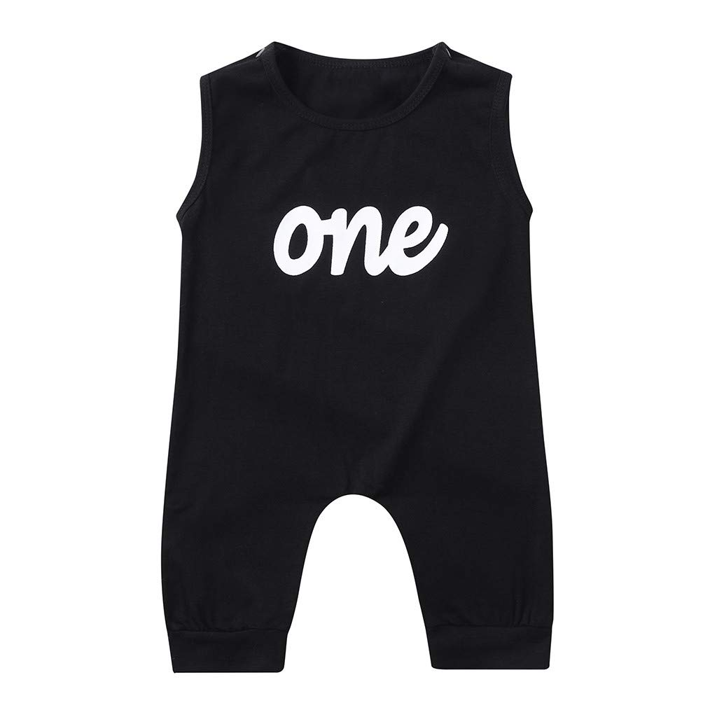 FONMA Infant Baby Boys Girls Sleeveless Letter Print Jumpsuit Romper Clothes Black