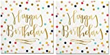 Happy Birthday Napkins (2 Sets of 20) - Fun Multi Color Confetti Polkadot Print with Metallic Gold Happy Birthday Message