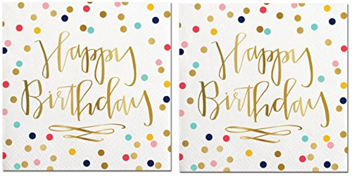 Happy Birthday Napkins (2 Sets of 20) - Fun Multi Color Confetti Polkadot Print with Metallic Gold Happy Birthday Message by SLT
