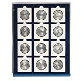 """Safe 6350 SP Blue Coin Case / Nova Tray Compact for 12 Coins in square spaces up to 50 mm = 2"""" diameter or Coin Holder"""
