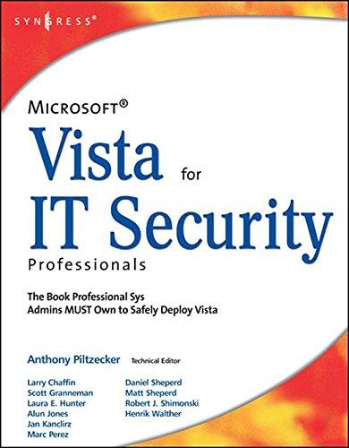 Microsoft Vista for IT Security Professionals Pdf