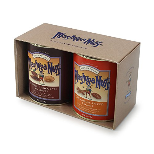 Mashuga Nuts   2 Tin Gift Pack   Spiced Pecans and Chocolate Walnuts   Gift Nuts   All Natural Flavors   Natural, Non-GMO and Kosher   Product of ()
