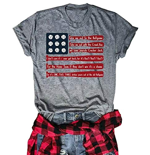 (4th of July T-Shirt Baseball Graphic Summer Short Sleeve Causal Tee American Flag Tops (Gray, XL))