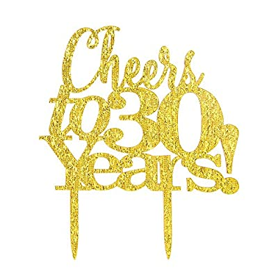Cheers to 30 Years Cake Topper - 30th Birthday, Wedding Anniversary, Retirement Party Bunting Sign Decorations Photo Props - Gold