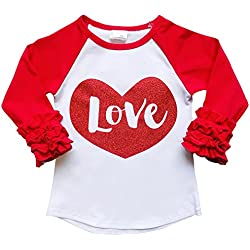 So Sydney Toddler & Girl Winter Holiday Long Sleeve Sparkle Print Ruffle T-Shirt (XS (2T), Valentine's Day Red Heart Love)