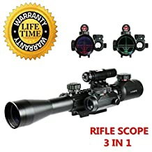 Fayachi Riflescopes 3 in 1 Tactical Rifle Scope with 3-9x40mm Dual Illuminated Scope+Red Laser Sight + Red / Green Reticle Holographic Dot Sight W/ 22mm & 11mm Picatinny Rail Mount