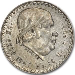 Mexico 1947-1948 1 Peso Silver Coins Morelos