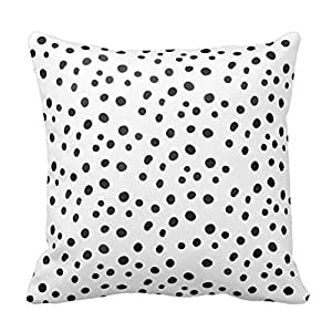 Black With White Polka Dots Design Throw Pillow Cover Case Decorative Square for Home Sofa 18X18 Inches Two Sides