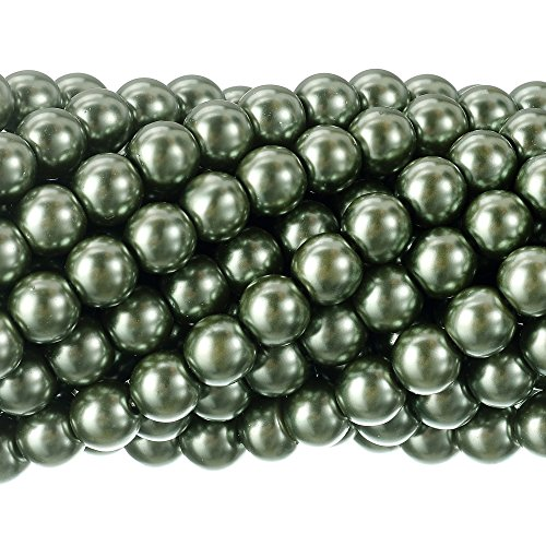 RUBYCA 200Pcs Czech Tiny Satin Luster Glass Pearl Round Beads DIY Jewelry Making 8mm Tarmac Green ()