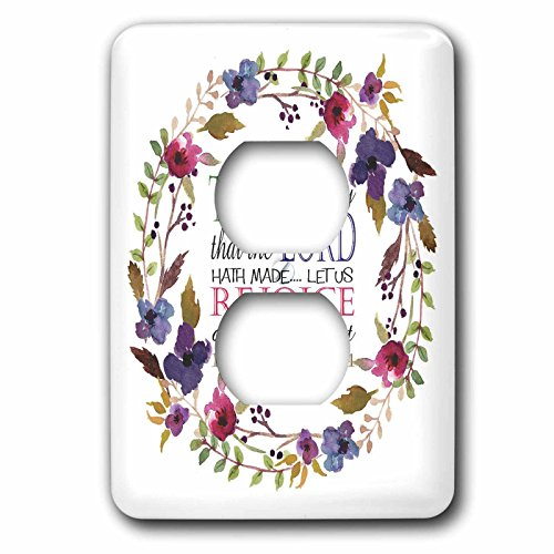 3dRose TNMGraphics Scripture - Psalm 118 Floral Wreath This is the Day the Lord Has Made - Light Switch Covers - 2 plug outlet cover (lsp_286314_6) by 3dRose