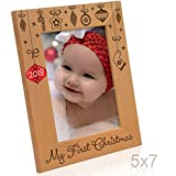 Kate Posh - 2018 Inlaid Ornament - My First Christmas, Baby's 1st Christmas Engraved Natural Wood Picture Frame. Santa & Me Frame, First Visit to Santa, Grandparents Gifts (5x7 Vertical)