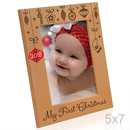 Kate Posh - 2018 Inlaid Ornament - My First Christmas, Baby's 1st Christmas Engraved Natural Wood Picture Frame. Santa & Me Frame, First Visit to Santa, Grandparents Gifts (5x7 Vertical) -