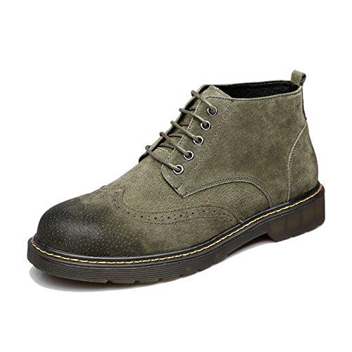 Männer hohe schuhe, herbst und winter, martin stiefel, männer hohe schuhe, schuhe, hohe leder männer kurze stiefel,grüne,44 13a2ac