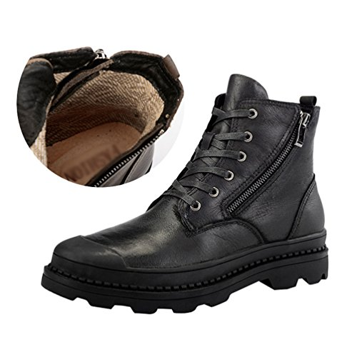 Jitong Herren Schnürstiefel mit Reissverschluss Casual Stiefelette Outdoor Boots Klassische Stiefel Schwarz