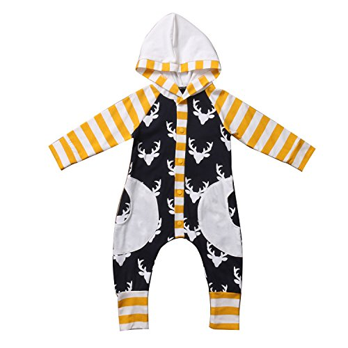 AnneBella Cotton Newborn Baby Girl Boy Rompers Deer Pocket Long Sleeve Hoodie Striped Leggings Clothes 0-24M