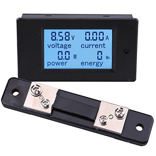 Yeeco Digital Multimeter DC 6.5-100V 50A Voltmeter Ammeter Amperage Voltage Power Energy Meter DC Volt Amp Current Watt Meter Gauge Power Monitor LCD Digital Display with 50A/75mV Shunt ()