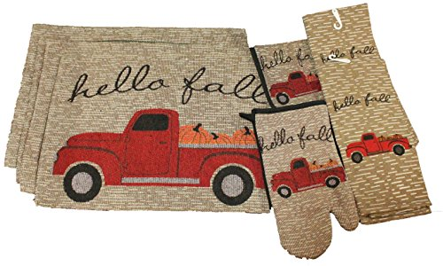 8 pc Vintage Truck Fall Kitchen Decor Set - Hello Fall - Matching Fall Placemats, Kitchen Towels, Pot Holder, and Oven Mitt - Comes in an organza bag so it's ready for giving!