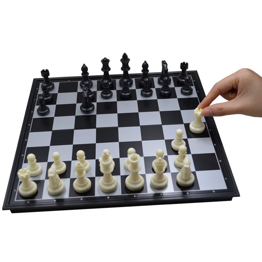 Seatrend ポータブル磁気チェスセット トラベルチェス折りたたみボードゲーム 大人と子供用 クラシックブラックとホワイト 12.6インチ   B07LBVZMW4
