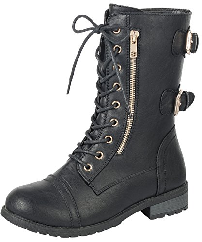 Forever Link Women's Lace-Up Buckle Moto Chunky Stacked Heel Mid-Calf Boot (10 B(M) US, Black)