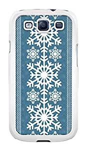 Blue Snowflake Winter Holiday Christmas Snap-On Cover Hard Plastic Case for Samsung Galaxy S3 I9300 (White)