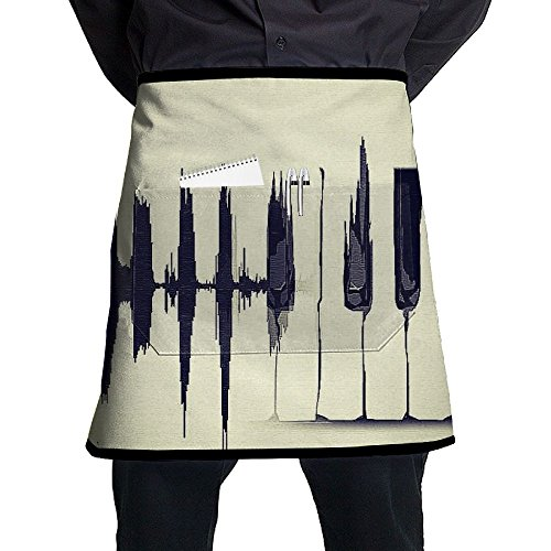Simple But Beautiful Piano Key Art Piece Restaurant Cooking Kitchen Half Body Waist Aprons Sewing Pocket Apron ()